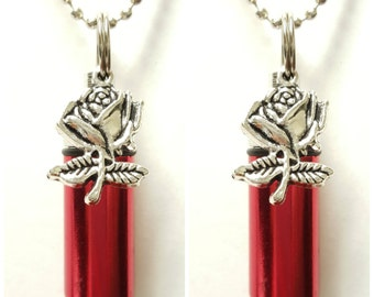 """TWO Beautiful Red CREMATION URN Necklaces with Silver Roses-  Includes Two Velvet Pouches, Two 24"""" Ball Chains, & Fill Kit"""