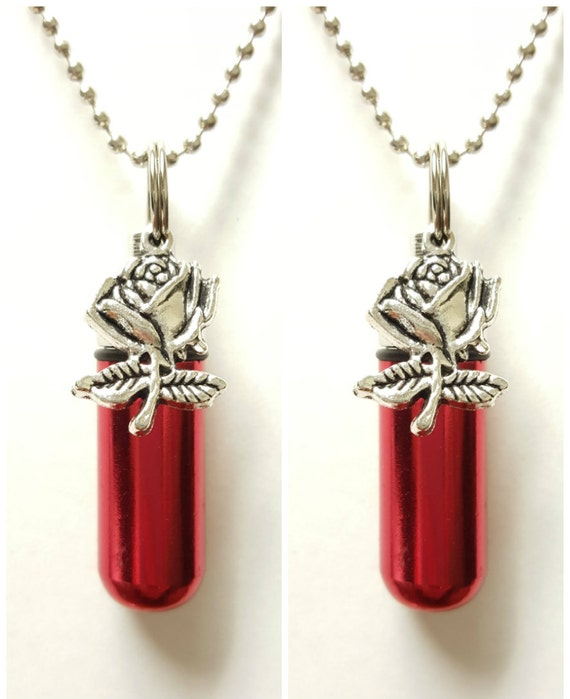 "TWO Beautiful Red CREMATION URN Necklaces with Silver Roses-  Includes Two Velvet Pouches, Two 24"" Ball Chains, & Fill Kit"