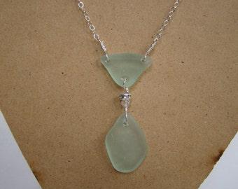 Seafoam Sea Glass Necklace - Sterling Silver Sea Glass Jewelry - Beach Glass Pendant