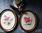Pair of Framed Crewel Floral Designs