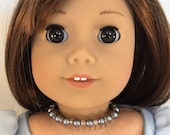 American Girl Sized Choker Necklace with Dark Gray Pearls and Clear Glass Beads