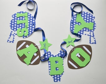 NEW Larger Size Football baby shower decorations royal blue and lime green it's a boy banner by ParkersPrints on Etsy