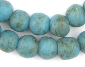 45 Vintage-Style Turquoise Recycled Glass Beads - Speckled Glass Beads - Vintage Style Beads - Ghana Glass Beads (RCY-RND-BLU-939)
