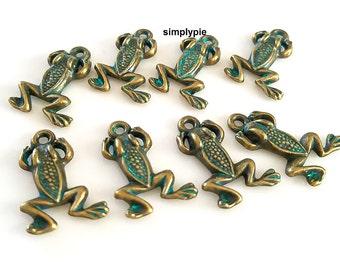 8 Green Frog Bronze Patina Verdigris Focal Charms Pendants Boho Charms
