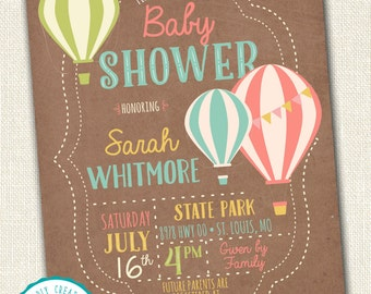 Hot Air Balloon Baby Shower Digital Invitation