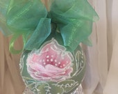 Hand Painted Roses, Christmas Ornament by MontanaRosePainter, Signed. One of a Kind...Item #236