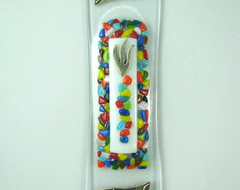Colorful dots and white Fused Glass Mezuzah Case