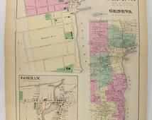 1874 Antique Map Geneva NY Map, Seneca Lake NY, Finger Lakes New York, Vacation Gift for Family, Genealogy Research, Hobart College Geneva