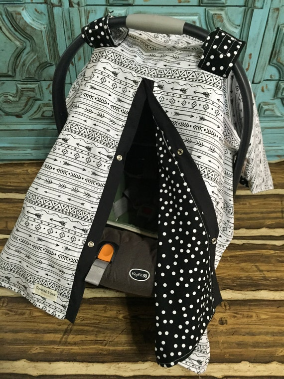 Black and White Arrow Print Infant car seat canopy  / Car seat cover / car seat canopy / carseat cover / carseat canopy / nursing cover