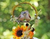 RESERVED for KELLY - Sunflower Carolina Wren Love Birds handmade wedding cake topper