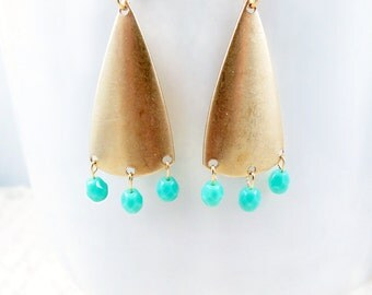 Triangle Chandelier Earrings Geometric Jewelry Gold Triangle Earrings Turquoise Beaded Jewelry