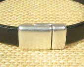 Slim Line Magnetic 10mm Flat Leather Clasps - Antique Silver - 10MF-CL18 - Choose Your Quantity
