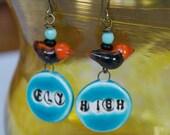 Orange Bird Earrings, Ceramic Word Earrings, Lampwork Glass Earrings, Fly High Earrings, Blue Earrings, Text Earrings, Whimsical Earrings
