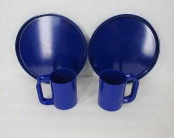 Vintage Heller Massimo Vignelli Blue Set of 2 Dinner Plates 2 Max Mugs  Mid Century Melamine