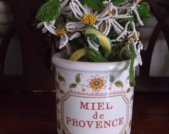 Vintage French Country Miel Honey Pot Provence Honey Mustard Crock Jar REDUCED