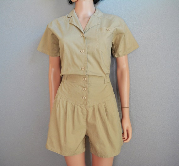 80s romper sleeve casual clothing button jumper