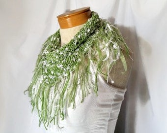 Green knit fringe scarf Triangle shawl Shoulder wrap Scarflette Spring fashion accessory for St Patricks day Boho knitwear Summer cover up