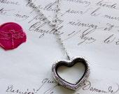 Vintage Style Filigree Heart Keepsake Floating Memory Shake Locket Y Necklace - Rhodium Plated Stainless Steel - Nickel Free -
