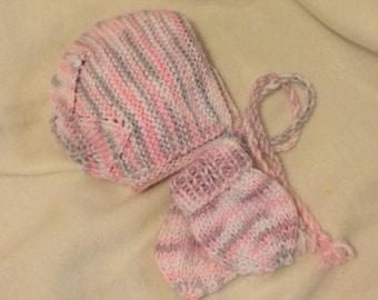 Hand knitted hat & glove set.