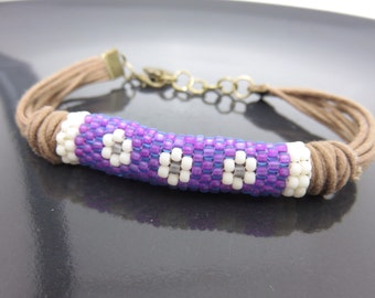 Purple and White Flowers Beaded Waxed Cotton Cord Bracelet