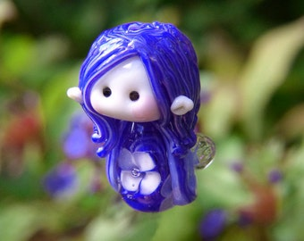 Little Blue Garden Fairy glass bead