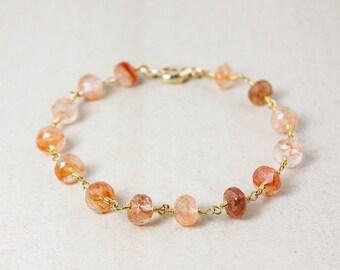 ON SALE Gold Peach Sunstone Bracelet - Sunstone Beads