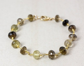 ON SALE Gold Brown Smokey Quartz and Lemon Quartz Bracelet - Light Brown - Gifts for Her