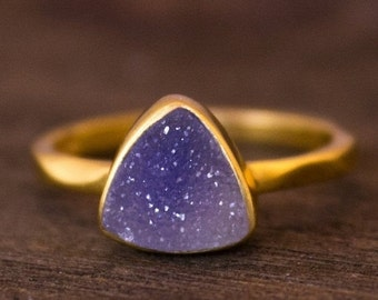 25% OFF Gold Purple Mauve Druzy Trillion Cut Ring - Triangle Ring - Stacking Ring