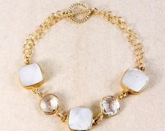 20% OFF Crystal Quartz and White Druzy Bracelet – 14K Gold Filled