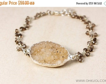 20% OFF Brown Druzy and Smokey Quartz Bracelet – 925 Sterling Silver Findings