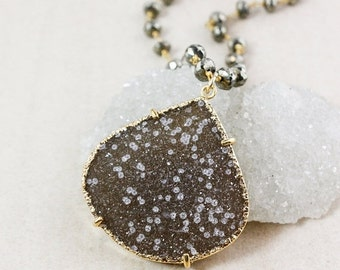 50% OFF Natural Agate Druzy Necklace – Statement Pendant – Black Pyrite Chain