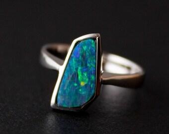CLEARANCE SALE Blue Opal Ring - Opal Doublet Ring - 925 Silver, Bezel Set Rings