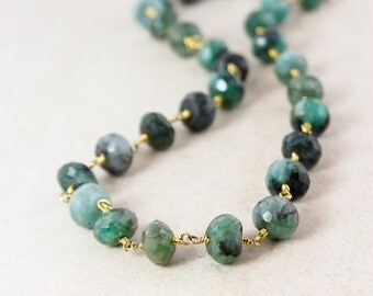 40 OFF SALE Gold Green Emerald Necklace - May Birthstone Necklace - Long Necklace