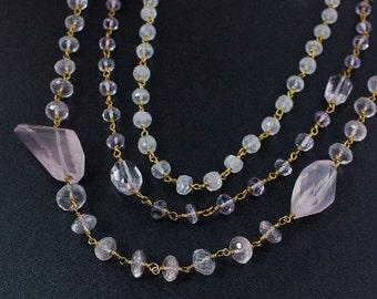 40 OFF SALE Gold Rose Quartz & Moonstone Necklace – Layering Necklace - 14K Gf