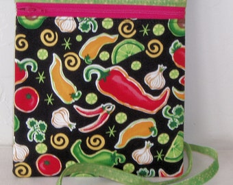 Mini purse. Cross body Mini messenger cell phone bag, dog walking fanny pack - green with peppers zip bag with coordinating zipper KBD10107