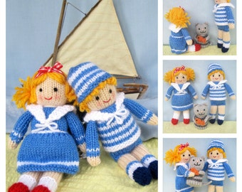 Jolly Shipmates - doll knitting pattern - INSTANT DOWNLOAD
