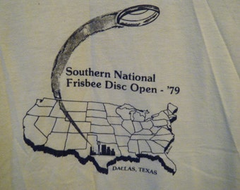 Vtg 1970s '79 Southern National Frisbee Disc Open soft Yellow Tee Large XL