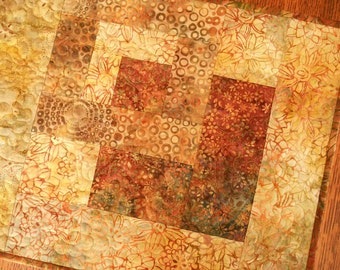 Quilted Batik Table Runner in Shades of Rust Brown and Green, Fall Table Runner, Autumn Colors, Quilted Batik Table Mat, Quiltsy Handmade