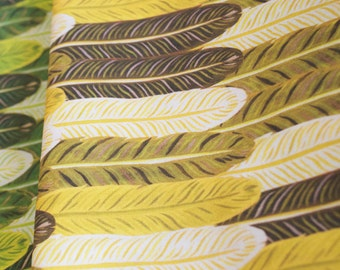 Feather Forest - mustard yellow - cotton fabric-