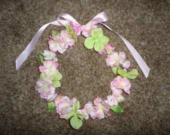girls floral hair wreath silk flower fairy princess headband-pink apple blossoms green hydrangea