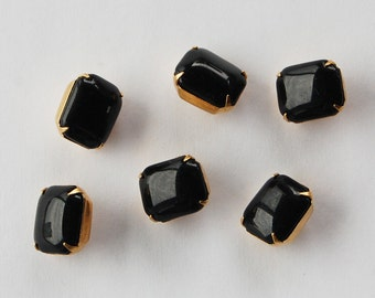 Vintage Glass Buttons 6 Jet Black Octagon Buttons Beads Brass Settings 10x12mm