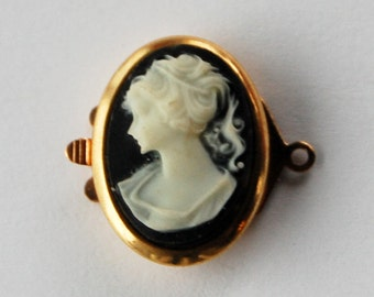 Vintage Cameo Clasp 1 Strand Plastic Resin Black & White 18x13mm Gold Metal