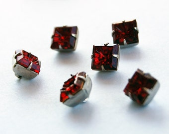 Vintage Glass Buttons 6 Ruby Red Square Buttons Beads Silver Settings 8mm Concave Glass