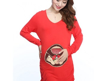Ugly Christmas Red Sweater Baby in Belly. DIY. Make Your Own. Apply To Any Shirt. Digital file. Instant Download.