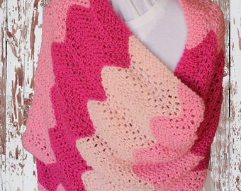 Pattern for Knit Prayer Shawl, Gradient Colors Knitting Pattern, Prayer Shawl Patterns, Rectangle Knit Shawl Patterns, Pink Shawl Pattern