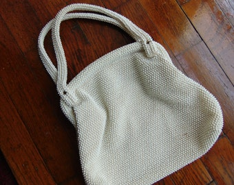 Vintage White Beaded Purse 1960s for Bride