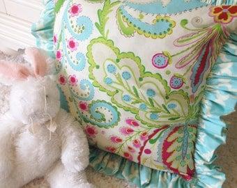 Kumari Garden Teja Pink and Tarika Blue Accent Pillow