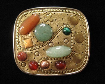 Michal Golan Brooch, Semi Precious Stones