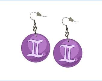 Zodiac Earrings Gemini Dangle Earrings Astrology Earrings Zodiac Symbol Gemini