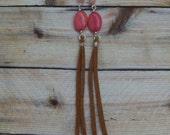 Pink Gemstone Suede Earrings- Long Earrings- Fringe- Beaded Jewelry- Hippie Boho Bohemian Gypsy- Rose Quartz Crystal